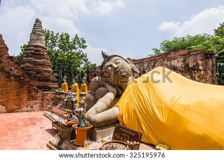 AYUTTHAYA,THAILAND - SEPTEMBER 20: The ancient Buddha over 500 years is full of spirit and attractive for Thai people to worship at Putthaisawan temple on September 20,2015 in Ayutthaya,Thailand