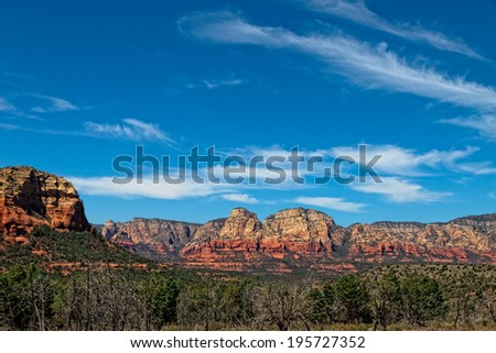AZ-Sedona-Bear Mountain Trail. This trail, beginning on the west side of Sedona, exhibits, spectacular vistas, desert scenery, and lots of elevation change - stock photo
