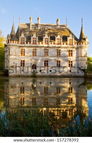 Azay-le-Rideau chateau  in fall,  the Loire Valley, France - stock photo