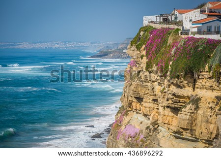 Azenhas do Mar white village landmark on the cliff and Atlantic ocean, Sintra, Lisbon, Portugal, Europe. - stock photo