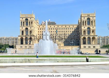 AZERBAIJAN, BAKU, JUNE 16, 2014: The Government house of Azerbaijan - stock photo