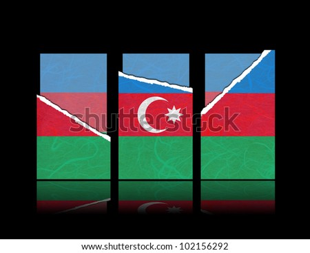 Azerbaijan flag of tear paper with gift cards. Mulberry paper on black background.