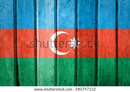 Azerbaijan flag painted on wood background - stock photo