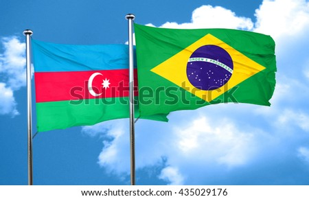 Azerbaijan flag with Brazil flag, 3D rendering