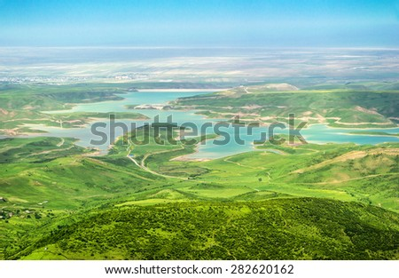 Azerbaijan Galaalty view of the reservoir with a height of 1700 m