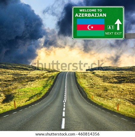 Azerbaijan road sign against clear blue sky