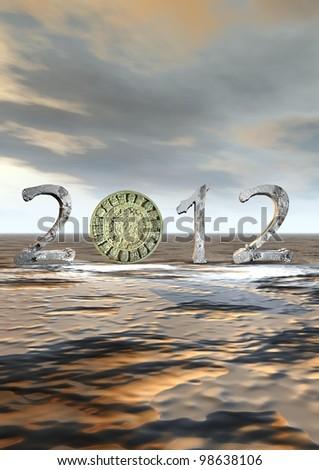 Aztec calendar instead zero in 2012 - stock photo