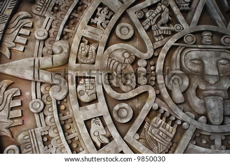 Aztec calendar. Mexican heritage and traditions. - stock photo