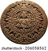 Aztec calendar - on a white background - stock photo