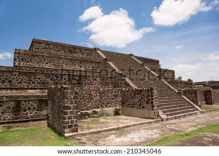 aztec pyramid in Teotihuacan Mexico - stock photo