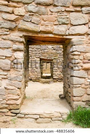 Aztec Ruins National Monument native american indian ruins door - stock photo