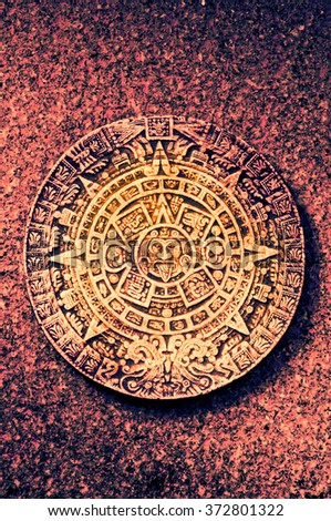 aztec stone calendar - stock photo