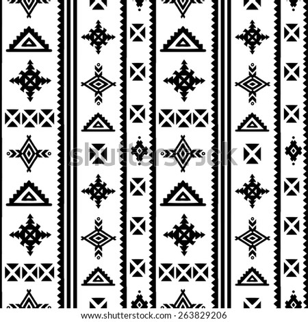 Aztec tribal art seamless pattern in black and white. Ethnic mexican monochrome print. Folk border repeating background texture - stock photo