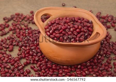 azuki beans , red beans - stock photo
