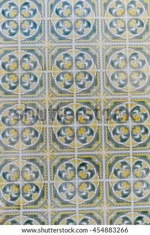 Azulejo beautiful traditional portuguese tiles background - stock photo