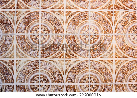 Azulejo is a form of Portuguese or Spanish painted, tin-glazed, ceramic tilework. - stock photo