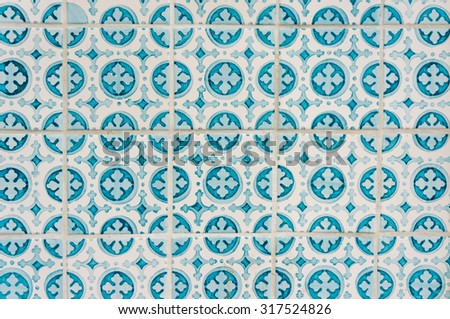 Azulejo portuguese ceramic tiles background. - stock photo