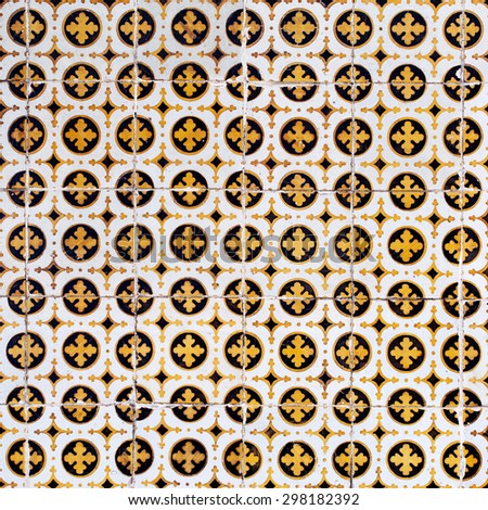 Azulejos, traditional Portuguese tiles Traditional tiles from facades of old houses - stock photo