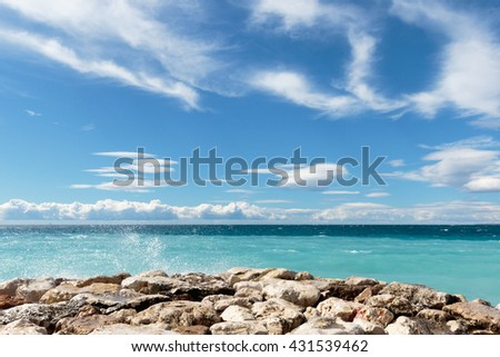 AZUR VI - view over the 'Baie des Anges' in Nice on the French Riviera. - stock photo
