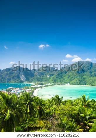 Azure Bay Idyllic Panorama - stock photo