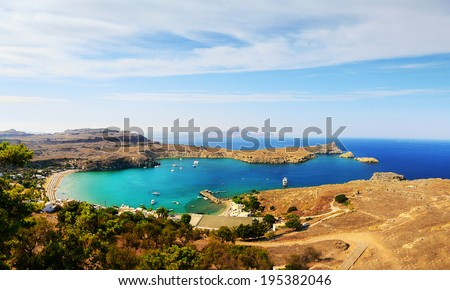 Azure Bay in Lindos (Rhodes Island, Greece) - stock photo