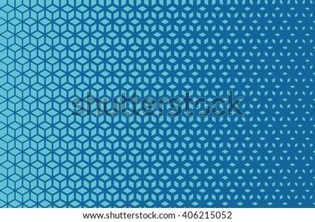 Azure blue horizontal isometric grid density gradient blend pattern - stock photo