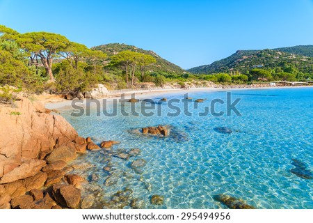 Azure crystal clear sea water of Palombaggia beach on Corsica island, France - stock photo