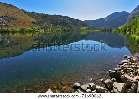 Azure lake Silver on pass Tioga. Warm serene autumn day - stock photo