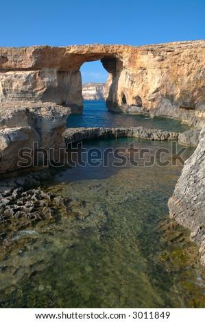 azure window, gozo island - stock photo