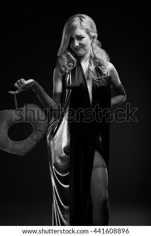 B and W Glamour portrait of blond woman - stock photo