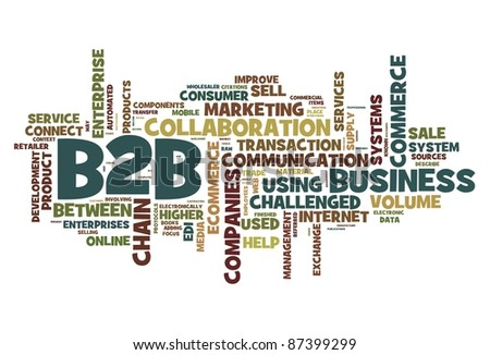 B2B - business to business concept in word tag cloud isolated on white - stock photo