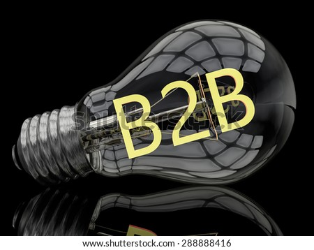 B2B - Business to Business - lightbulb on black background with text in it. 3d render illustration. - stock photo