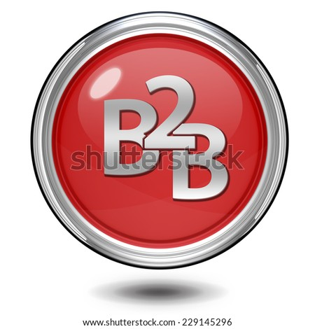B2B circular icon on white background - stock photo