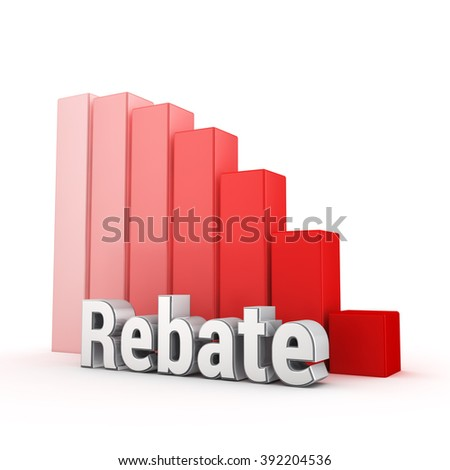 B2B discounts falling down. Word Rebates against the red falling graph. 3D illustration picture - stock photo