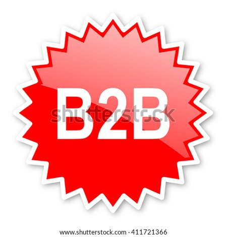 b2b red tag, sticker, label, star, stamp, banner, advertising, badge, emblem, web icon - stock photo