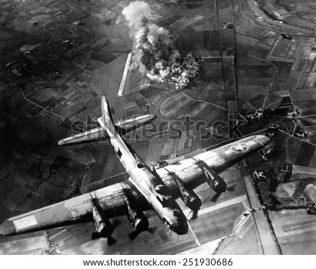B-17 Bomber during the first big raid on Germany by the U.S. 8th Air Force. The raid destroyed most of the Marienburg Focke-Wulf aircraft factory. World War 2. October 9, 1943 - stock photo