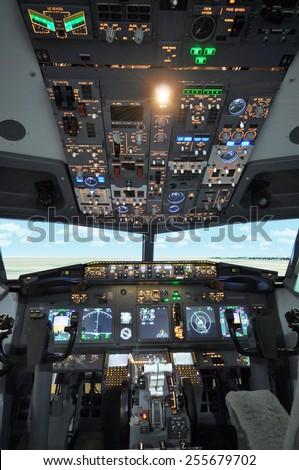 B737 Cockpit - stock photo