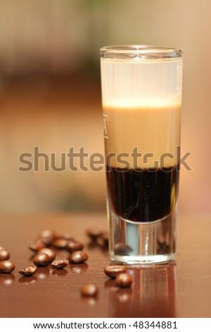 B52 cocktail served at bar with Kahlua, Baileys, Cointreau - stock photo