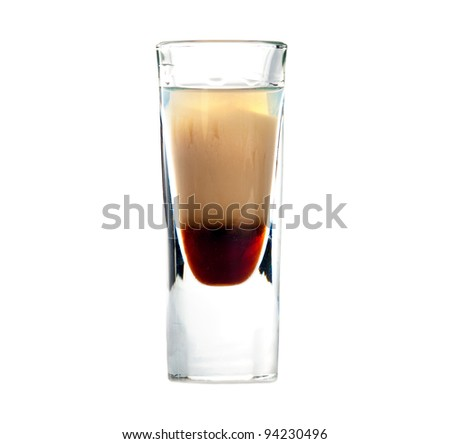 B 52 cocktail shot isolated on white background - stock photo
