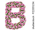 B, flower alphabet isolated on white with clipping path - stock photo
