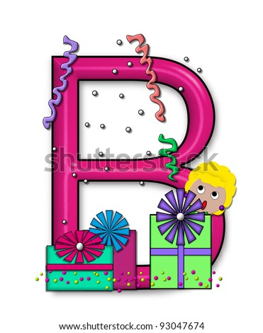 """B, in the alphabet set """"Birthday Letters"""", is surrounded by colorfully wrapped presents complete with bows.  Woman hides behind presents and peeks out pretending surprise. - stock photo"""