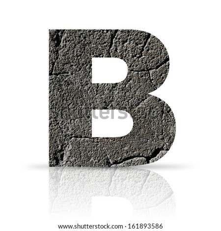 b  letter cracked cement texture - stock photo