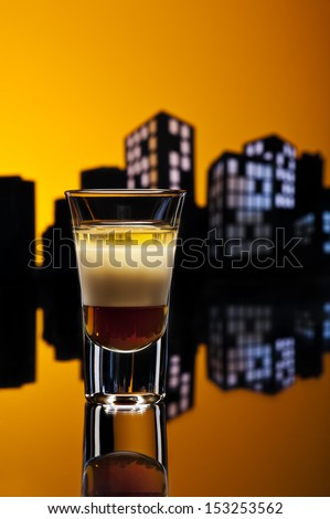 B52 shot in colorfull cityscape setting