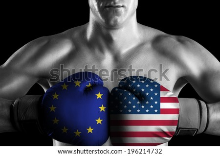 B&W fighter with EU and USA color gloves - stock photo