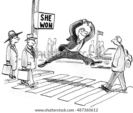 BW Political Cartoon Showing A Man Smiling And Jumping Because She