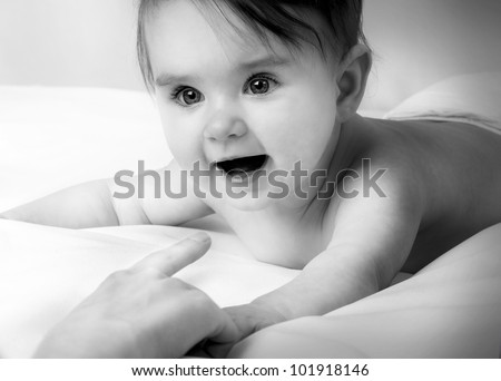 B&W Portrait of a beautiful little baby - stock photo