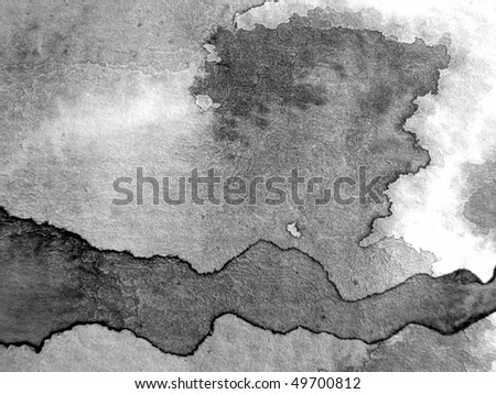 B & W Watercolor Textures - stock photo