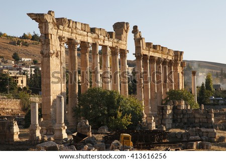 Baalbek is a town in the Beqaa Valley of Lebanon. Known as Heliopolis during period of Roman rule, it was one of largest sanctuaries in empire and contains some of the best preserved ruins in Lebanon