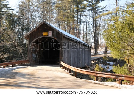 Babb Bridge in Windham, Maine, on a winter day - stock photo