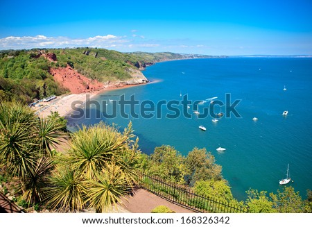 Babbacombe beach in Torquay, Devon coast, United Kingdom, view from above - stock photo
